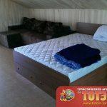 Комната с двухспальной кроватью со шкафчиками и диваном 4-х местного номера люкс в базе отдыха Дружба